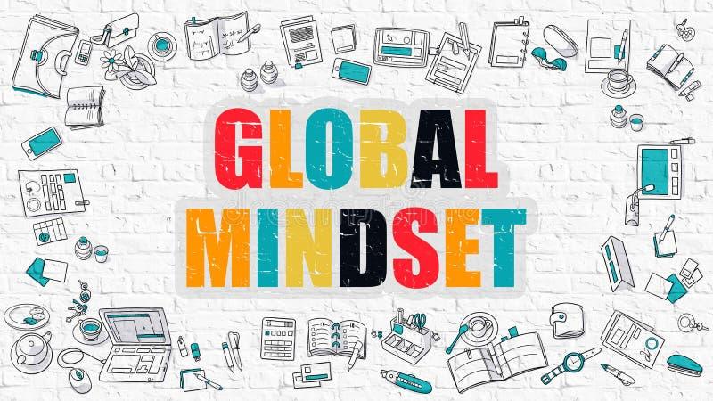 Globalny Mindset w Multicolor Doodle projekt ilustracja wektor