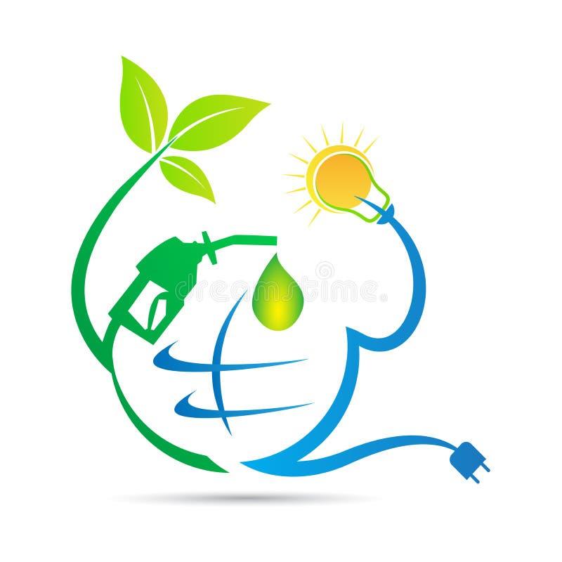 Globalny naturalny władzy energii logo royalty ilustracja