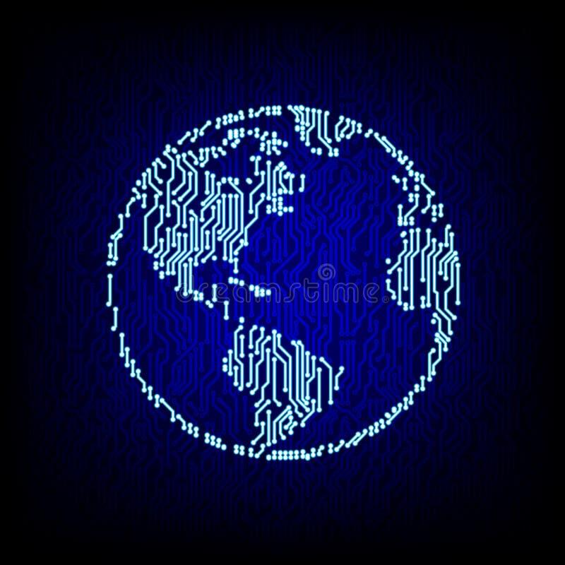 globalny pojęcie networking Obwód deski kuli ziemskiej wektoru ilustracja royalty ilustracja