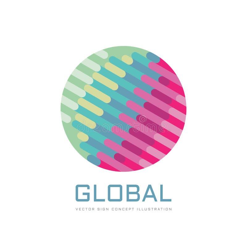 Globalny rozwój biznesu - pojęcie logo szablonu wektoru ilustracja Abstrakcjonistycznej kuli ziemskiej kreatywnie znak Geometrycz ilustracji