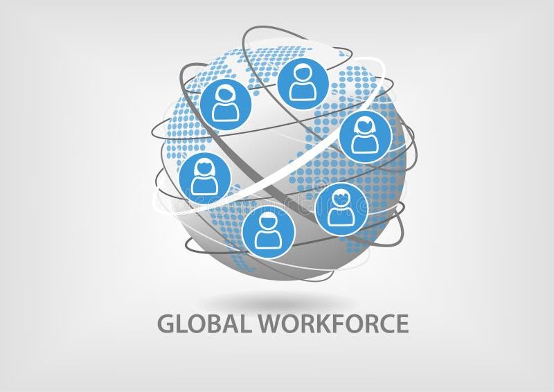Globalny siły roboczej pojęcie Ilustracja współpracująca praca zespołowa z ikonami royalty ilustracja