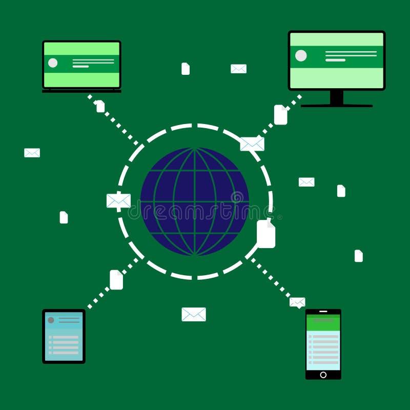 Globalny transfer danych między abonentami na całym świecie royalty ilustracja