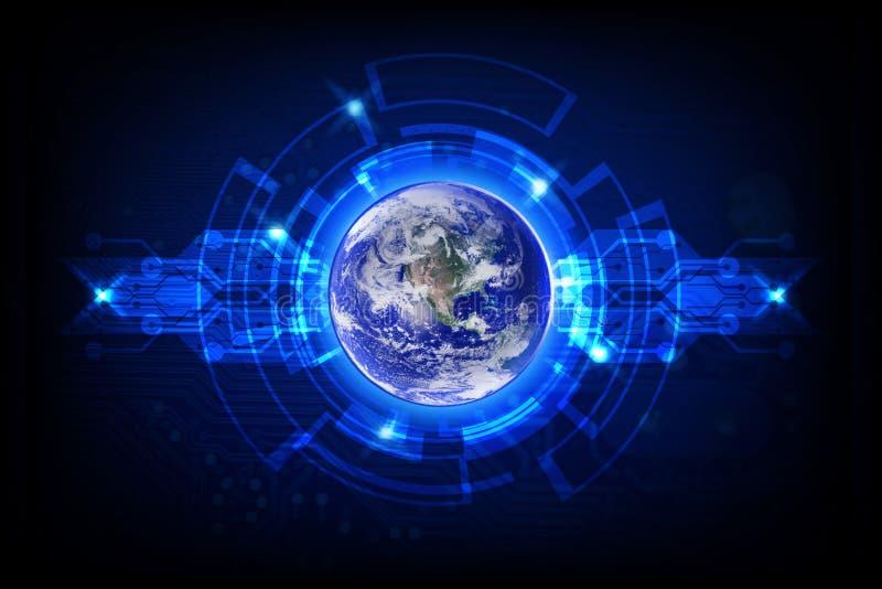 Globalny z geometrycznym technologii tłem royalty ilustracja