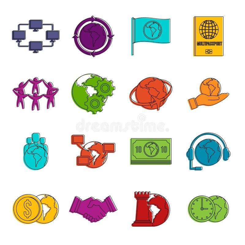 Globalny związek ikon doodle set royalty ilustracja