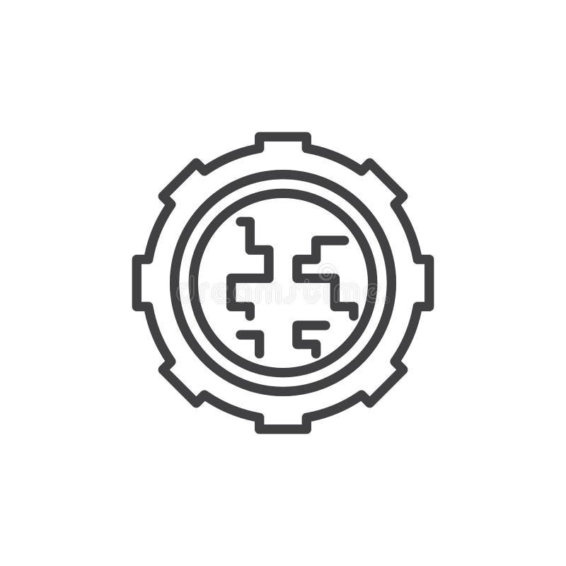 Globalnych położeń kreskowa ikona royalty ilustracja