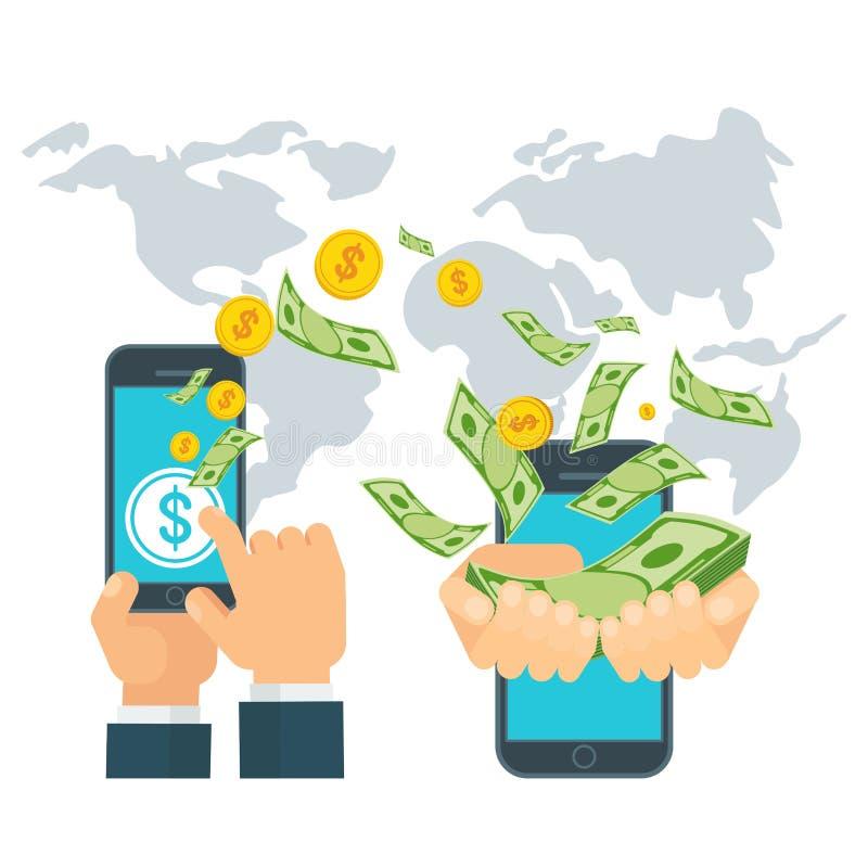 Globalt överföringsbegrepp för pengar royaltyfri illustrationer