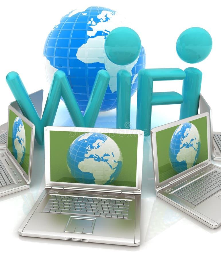 Globalt begrepp av WiFi uppkopplingsmöjlighet mellan bärbara datorer vektor illustrationer