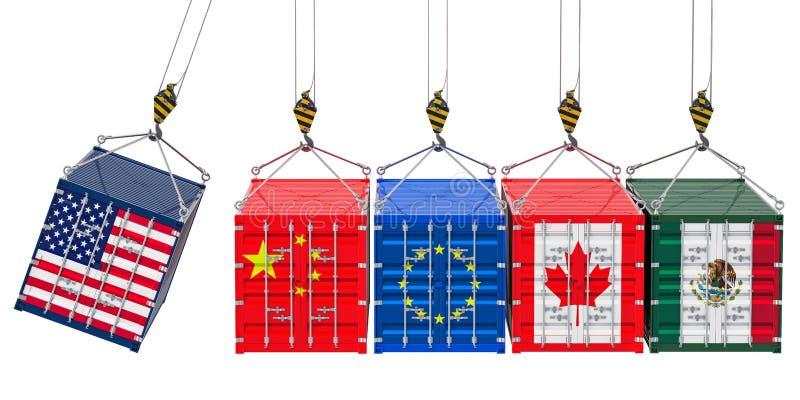 Globalt begrepp för handelkrig, tolkning 3D royaltyfri illustrationer