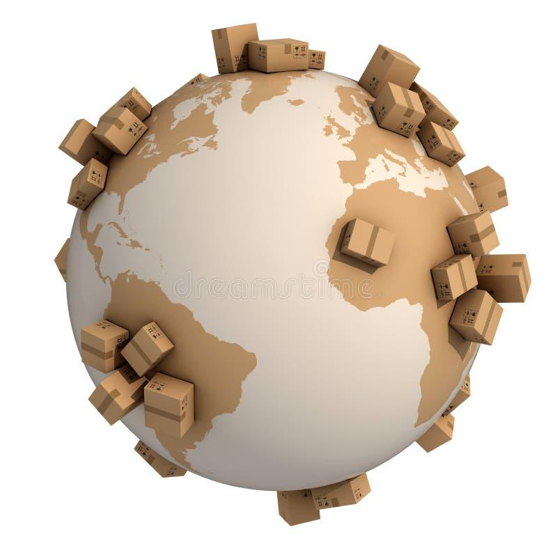 Globalt begrepp för sändning 3d stock illustrationer