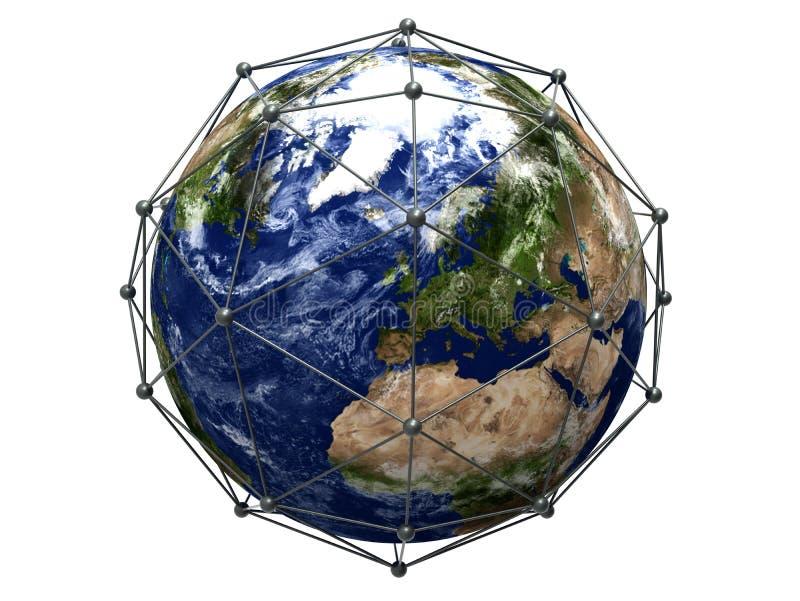 Globalt databasbegrepp - fokus på Europa royaltyfri illustrationer
