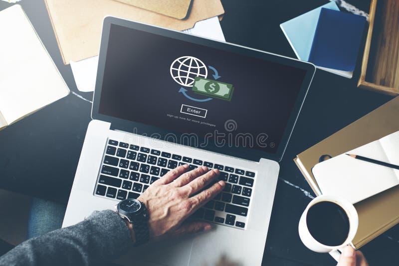 Globalt finansiellt bankrörelseinvesteringbegrepp royaltyfri fotografi