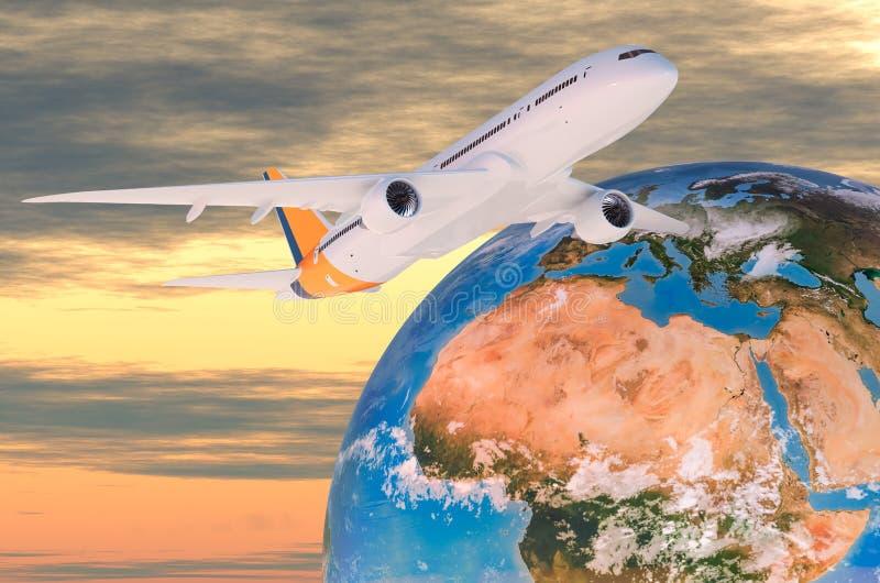 Globalt flygresabegrepp Flygplan med jordjordklotet, tolkning 3D vektor illustrationer