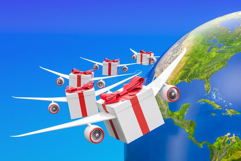 Globalt gåvaleveransbegrepp Gåvaaskar med vingar som flyger i th stock illustrationer