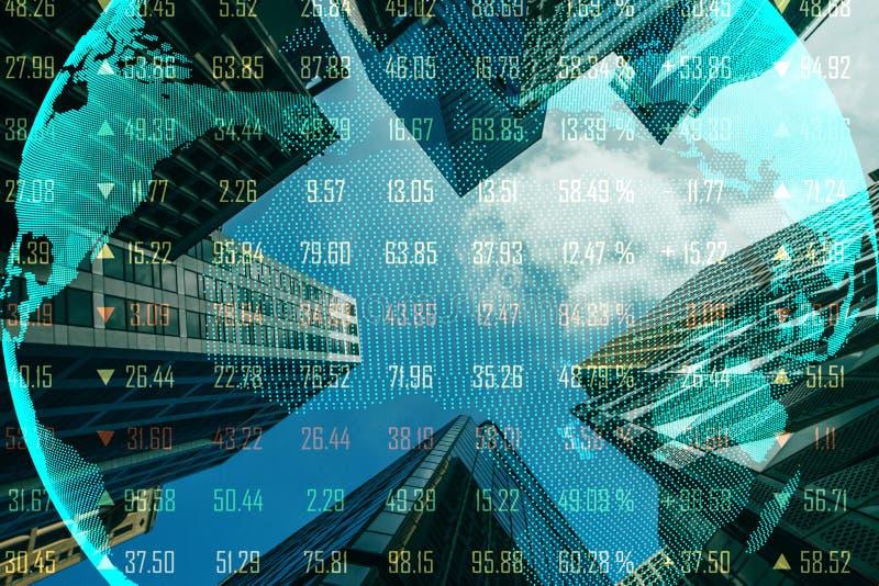 Globalt handel- och ekonomibegrepp stock illustrationer