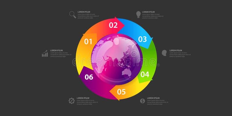 Globalt infographic baner för affär av jordklotöversikten Global mall f?r aff?r med cirklar kan anv?ndas f?r workfloworientering royaltyfri illustrationer