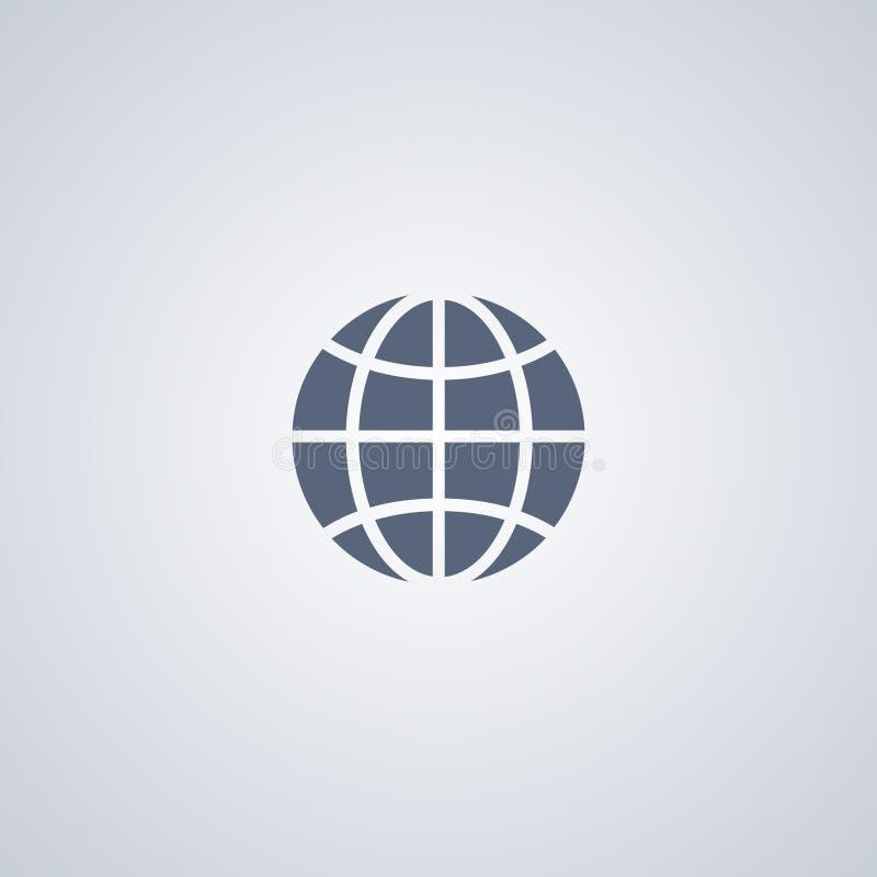 Globalt jordklot, bästa plan symbol för vektor vektor illustrationer