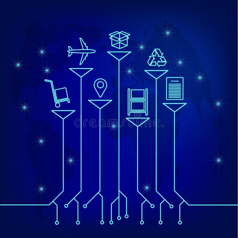 Globalt logistiknätverk För logistikpartnerskap för översikt global anslutning Tillväxtträdidén med global logistik knyter kontak royaltyfri illustrationer