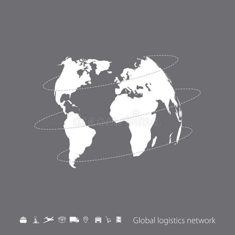 Globalt logistiknätverk Grå liknande världskarta på grå färger royaltyfri illustrationer