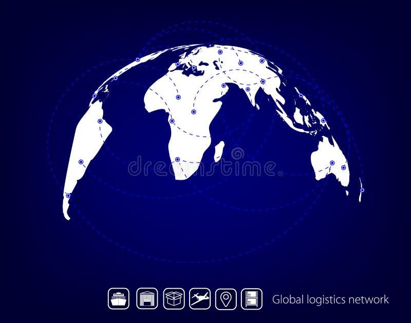 Globalt logistiknätverk Globalt logistikpartnerskap för översikt Blå liknande världskarta Ställ in den symbolstransport och logis vektor illustrationer