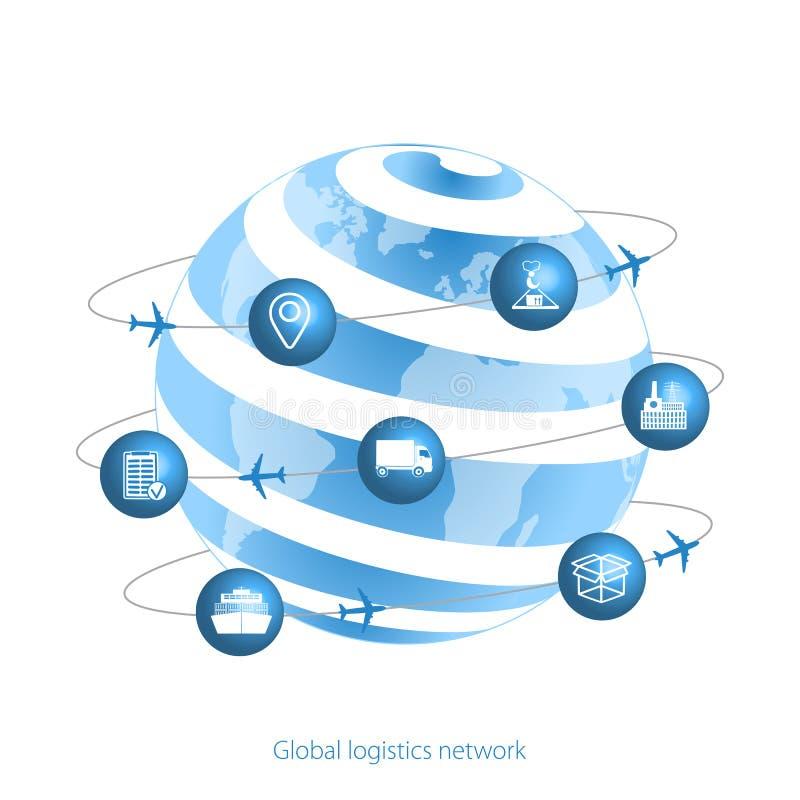 Globalt logistiknätverk Planetjord- och logistiksymboler i form av satelliter Ställ in den symbolstransport och logistiken Plan d royaltyfri illustrationer