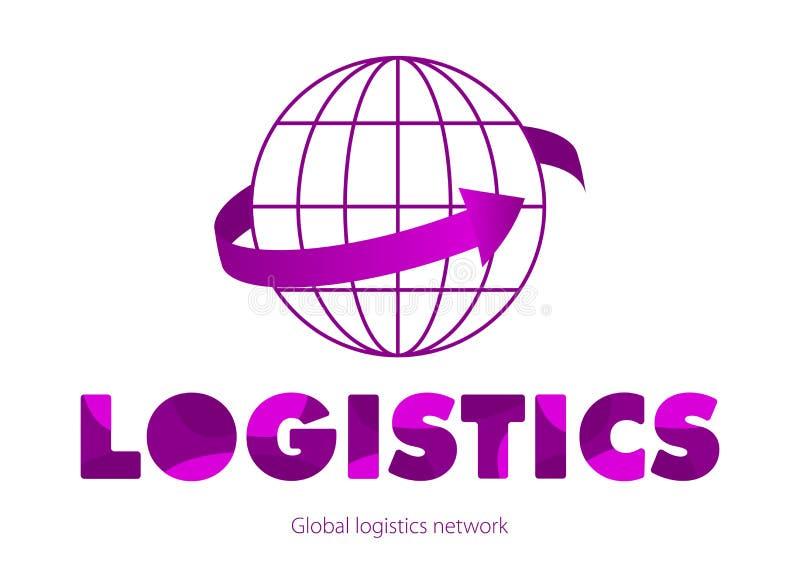 Globalt logistiknätverksbegrepp i violet Färgrika rundade bokstäver Den violetta pilen går runtom i världen stock illustrationer
