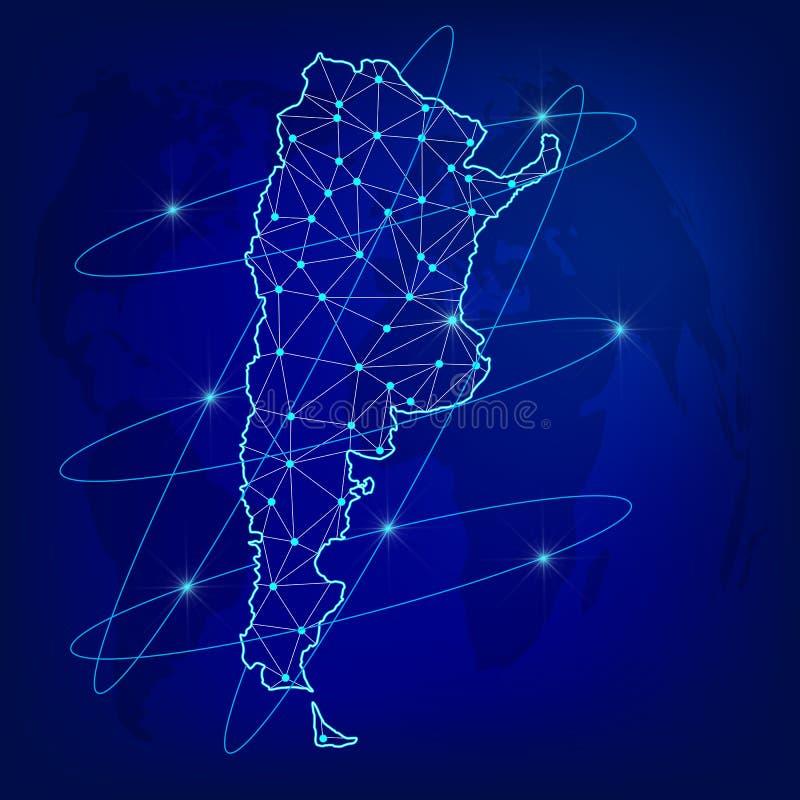 Globalt logistiknätverksbegrepp Kommunikationsnätverksöversikt Argentina på världsbakgrunden Översikt av Argentina med knutpunkte royaltyfri illustrationer