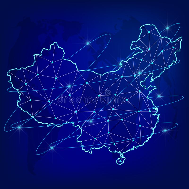 Globalt logistiknätverksbegrepp Kommunikationsnätverksöversikt av Kina på världsbakgrunden Översikt av Kina med knutpunkter i pol royaltyfri illustrationer