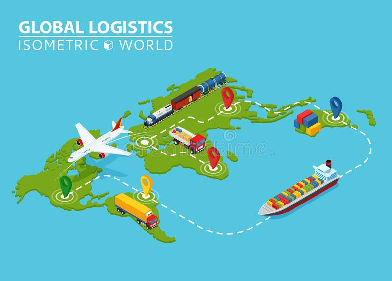 Globalt logistiskt isometriskt medel Infographic Skepplastlastbil Van Logistics Service Importexportkedja ensured royaltyfri illustrationer