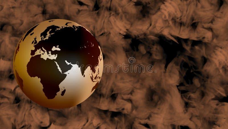 Globalt med brun rökig bakgrund royaltyfri illustrationer
