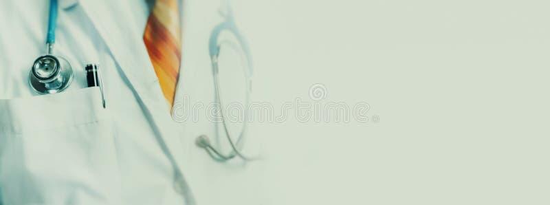 Globalt medicin- och hälsovårdbegrepp Oigenkännlig tonad bild för doktor With Stethoscope mjuk fokus fotografering för bildbyråer