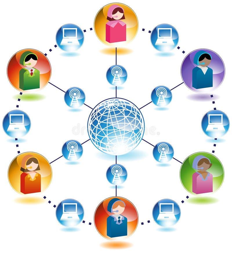 globalt nätverk för affärskommunikation vektor illustrationer