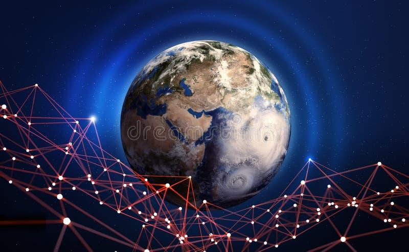 globalt nätverk Informationsteknik av planetjord Era av den digitala kommunikationen Blockchain 3D illustration royaltyfri illustrationer