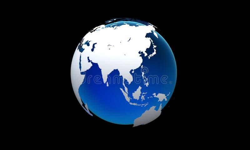 Globalt nätverk och datautbyten över tolkningen för värld 3D royaltyfri illustrationer