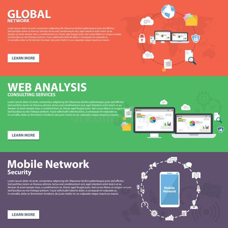 Globalt nätverk, rengöringsdukanalys, mobil vektor för begrepp för baner för nätverkslägenhetsymbol royaltyfri illustrationer