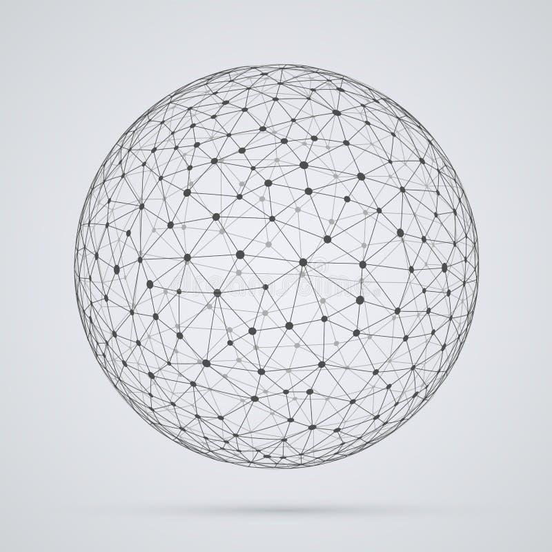 Globalt nätverk, sfär Abstrakt geometrisk sfärisk form med royaltyfri illustrationer