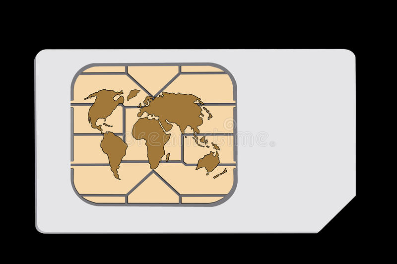 Globalt simkort Isolerat på svart Begrepp stock illustrationer