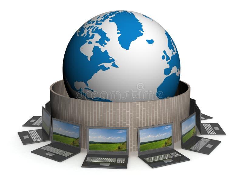 globalt skyddat internetnätverk stock illustrationer