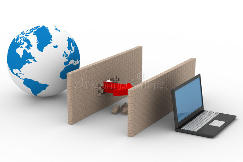 globalt skyddat internetnätverk royaltyfri illustrationer