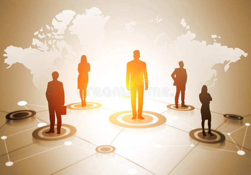 Globalt socialt nätverkandesystem stock illustrationer