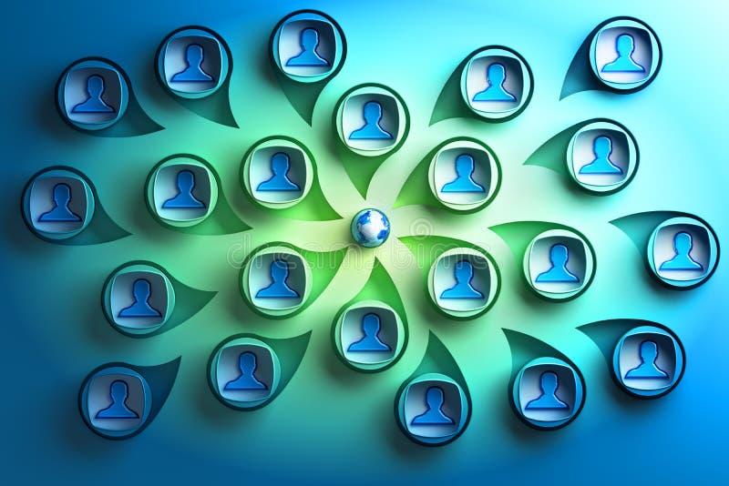 Globalt socialt nätverks- och världsnäringslivbegrepp royaltyfri illustrationer