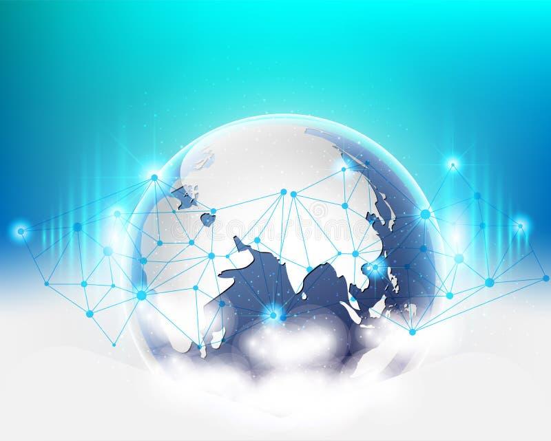 Globalt system för nätverk för information om data för världsanslutningsmoln kvalitets- också vektor för coreldrawillustration vektor illustrationer