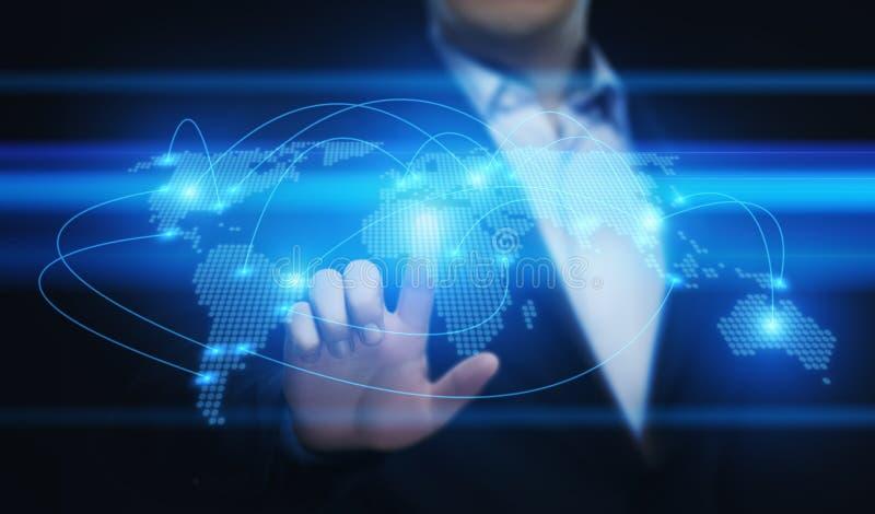Globalt Techology för internet för nätverk för affär för världskommunikationsanslutning begrepp vektor illustrationer