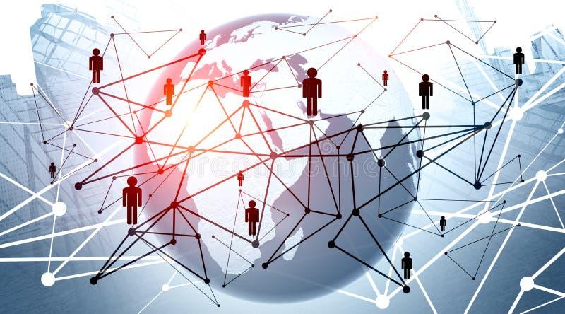 Globalt uppkopplingsmöjlighetbegrepp med världsomspännande linjer för kommunikationsnätverksanslutning runt om planetjord Några b royaltyfri illustrationer