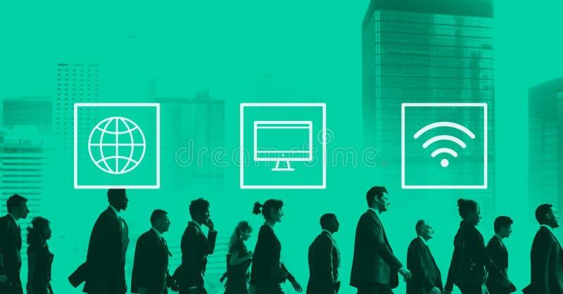 Globalt världsomspännande Digital modernt anslutningsbegrepp arkivbild