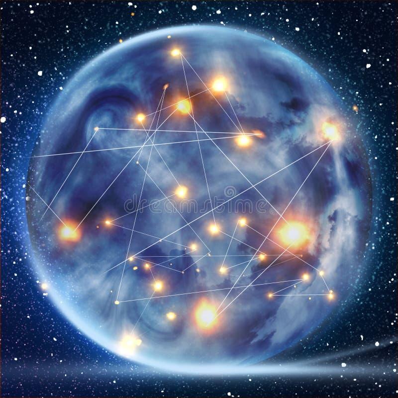 Globalt världstelekommunikationnätverk med knutpunkter förbindelse runt om jord, begrepp om internet och världsomspännande kommun royaltyfri illustrationer