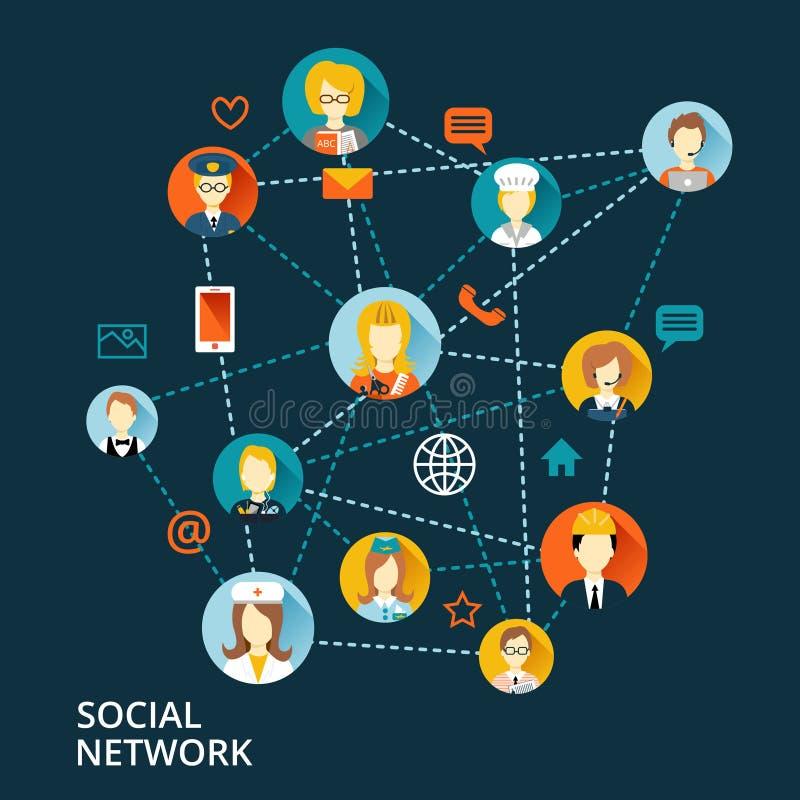 Globalt yrkesmässigt nätverksbegrepp stock illustrationer