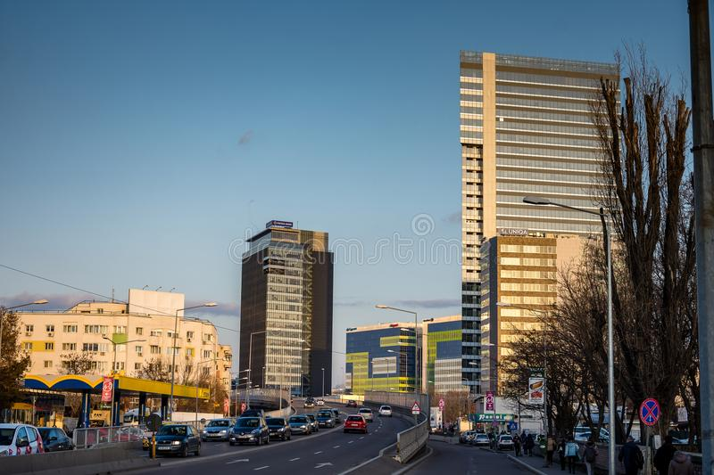 Globalworth Tower and Pipera road in Bucharest stock images