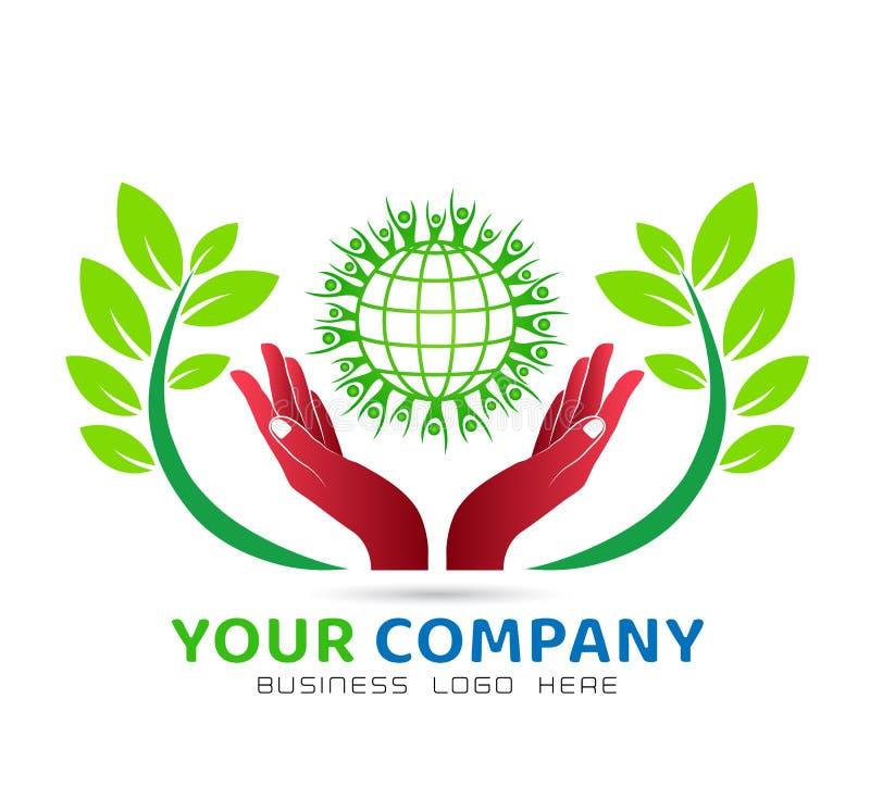 Globe à main avec l'icône verte union familiale, l'amour soigner dans les mains logo illustration stock