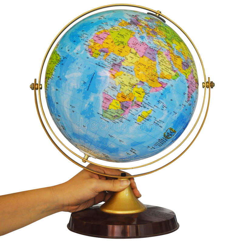 Globe. Hand holding a earth globe. Clipping path included stock image