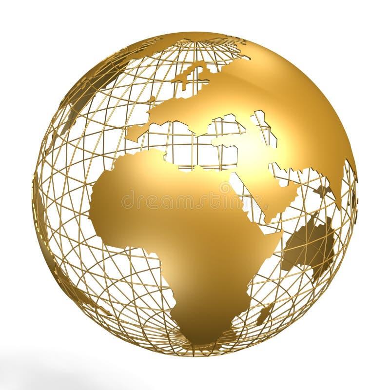 Globe. Golden globe of africa and europe on frame